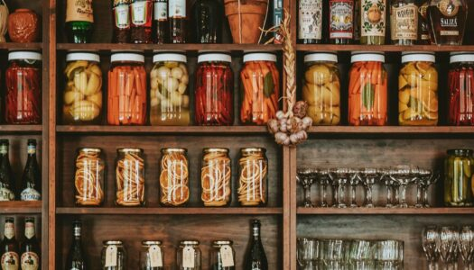 preserved food in jars on a shelf