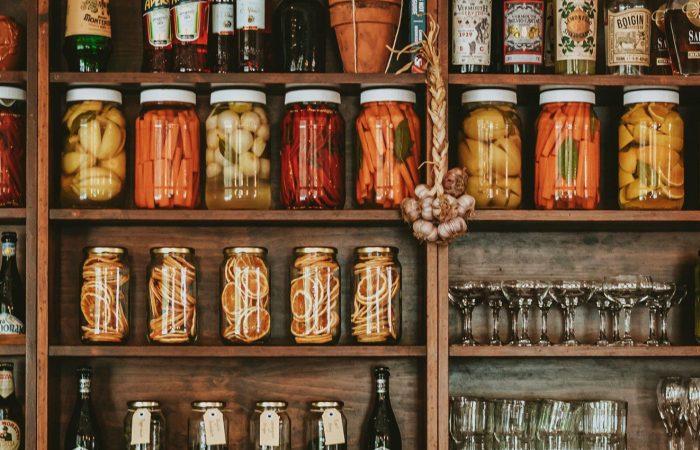 preserved food in jars on a shelf